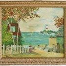 Vintage Original Painting Cape Cod Light House 1968 Emmy Peterson Oil Framed