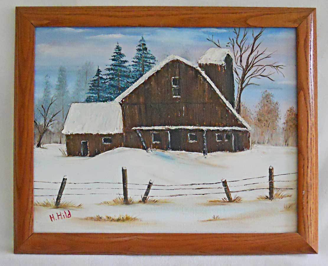 Folk Naive Primitive Vintage Painting Country Winter