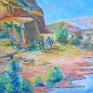 Cowboy Folk Vintage Painting John Ford Country Monument Valley Western Sciascia