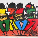 Rasta Jamaica Vintage Original Street Band Painting Folk Outsider Signed Music