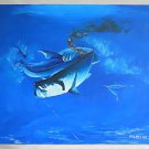 Vintage Action Painting Fishing Tarpon Hooked Shark Attack Blood Folk Martinez