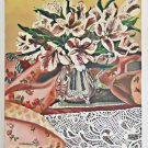 Folk Naive Outsider Original Painting Orchid Explosion Lace Flowers Lockedes