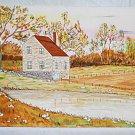 Vintage Original Folk  Primitive Painting Farm House Rocky Field Silverthorn