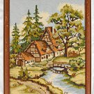 Needlepoint Vintage Landscape Nordic Cottage 3 Peak Roof Dwelling Architecture