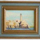 Morro Castle Havana Cuba Vintage Painting Modernist Naive Gilded Frame  Paul M