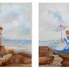 Vintag Nautical Folk Art Pair Paintings Boy Girl Watching Sailboat Race Raymond