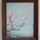 Florida Folk Naive Vintage Painting Ornithology Roseate Spoonbill Birds Florida