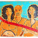 Black Outsider Original Painting Long Neck Women Crazy Arm Sharing Guy  Joseph G