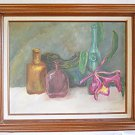 Vintage Original Painting Still Life Purple Orchid Colored Glass Bottles Maiston