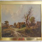Galiard Vintage Antique Painting Architectural Country Ruins Peasant Landscape