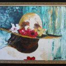 Vintage  Original Modernist Painting Portrait of A Summer Flower Hat Ballesteros
