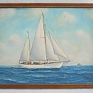 American Flag Vintage Antique Folk Naive Painting Simpsoni Sailboat Yacht Felby