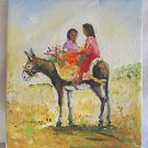 Folk Naive Vintage Painting Sanchez Donkey Flower Carrier Girls Riding Outsider