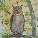 Vintage Outsider Folk Naive Painting Bizarre Owl Attacked by Tiny Troll