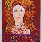 Outsider Vintage Original Folk Painting Lazy Eye Red Head Beauty Floating Torre