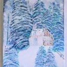 Vintage Folk Naive Snow Covered Cabin Original Painting Pine Mountain Storm SW