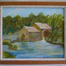Folk Naive Primitive Original Painting Water Mill Rural Landscape Wonky Wheel BB