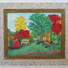 Vintage 50s Original Naive Folk Art Painting Country Picnic Grove Crazy Trees