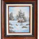 Snow Vintage  Painting Van Bell Sled Homestead Farm Winter Americana Fine Detail