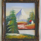 Vintage Western Folk Outsider Painting Tiny Bumpy House Soaring Snow Mountain