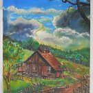 High Summer Range Cowboy Western Folk Vintage Painting Broken Down Cabin Cattano