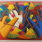 Vintage Haitian Original Painting K Paul Pineapple Extreme Long Limbs Women