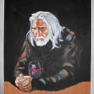 Outsider Folk  Art Vintage Painting Original Kung Fu Old Master Drinking Wine AP