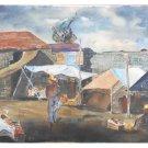 Mid Century Modern Original Vintage Painting Poor Mexico Border Town Roberto