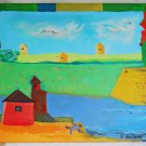 Cubist Houses Painting Folk Naive Primitive Vintage Bright Ocean Turtle F Botero