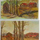 Folk Art Pair Vintage Painting Before After Lightning Strike Country Houses HB