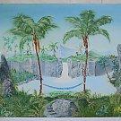 Hawaii Vintage Original Folk Art Painting Hammock Waterfall Mountains Palm Metng