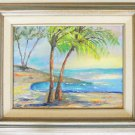 Vintage Painting Florida Beach Modernist Folk Naive Tropical Original Hallen 78