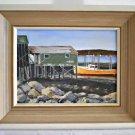 Nova Scotia Vintage Original Painting Westport Fish House Trawler Pyne Canada