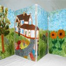 Folk Art Naive Vintage Painting Painted Screen Country House Architectural Scene