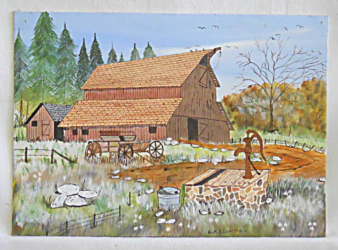 Folk Naive Original Vintage Painting Fancy Barn Water Pump Buckboard Silverthorn