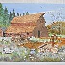Folk Naive Original Vintage Painting Fancy Barn Water Pump Buckboard Silverthorn