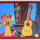 Vintage Outsider Folk Original Painting Still Life Modern Guitar Flowers Larson