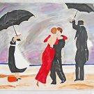 Outsider Folk Orginal Painting Ballroom Dancing Rain Umbrella  Servants Justina