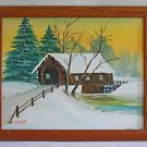 Snow Folk Primitive Naive Vintage Painting Winter Covered Leaning Bridge Hild
