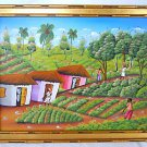 Vintage Original Haitian Painting Thatched Roof Cottages Fields Farmers Frantz