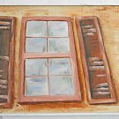 Folk Naive Painting Vintage Architectural Window Distorted Perspective Wendel
