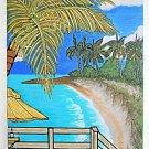 Folk Naive Realism Original Tropical Painting Cocktail Lagoon Beach Franklin