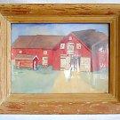 Primitive Folk Vintage Painting Watercolor Sandy Oaks Red Barn Farm House  Mea