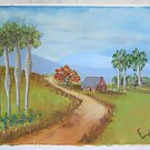Folk Naive Vintage Cuba Painting Thatch Roof Countrty House Laundry E Bernal
