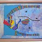 Vintage Modernist Original Painting Stylized Parrot Fish Oversize Tropical Jomo