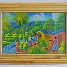 Impressionist Vintage Haitian Tiny Painting Farming Knives Architectural Canetan