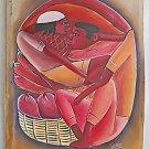 Erotic Vintage Original Painting Haitian Entwined Couple In Fruit Basket Savoir