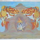 Underwater Outsider Folk Original Painting Groupers Tropical Fish Coral Reef