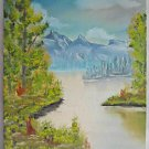 Folk Naive Western Wild Landscape Vintage Original Painting Bright Lake Mountain