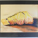Vintage Modernist Abstract Original Drawing Back View Sleeping Male K Bradford